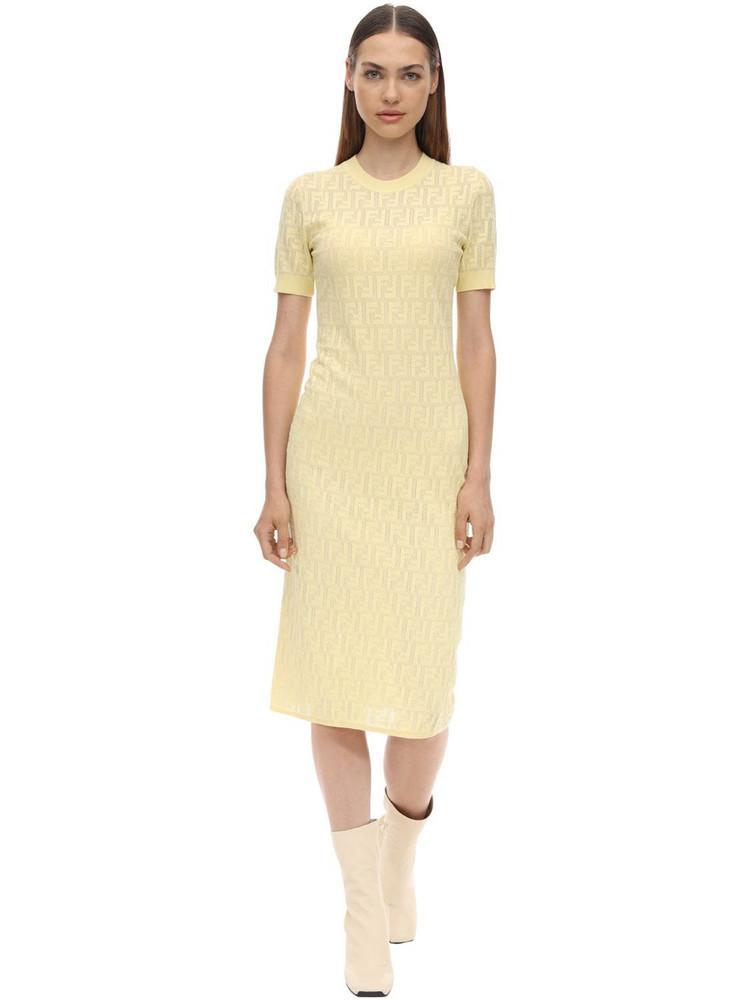 FENDI Logo Intarsia Cotton Knit Dress in beige