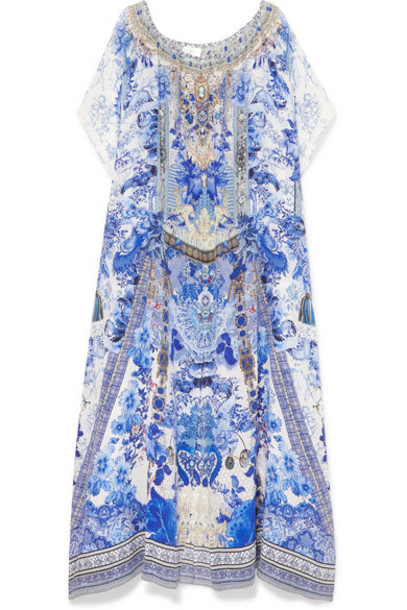 Camilla - Embellished Printed Silk Crepe De Chine Kaftan - Bright blue