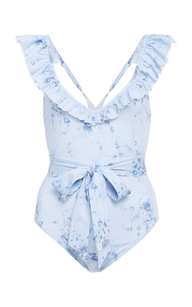 LoveShackFancy Opal Belted Floral-Print Stretch-Crepe Swimsuit Size: in blue