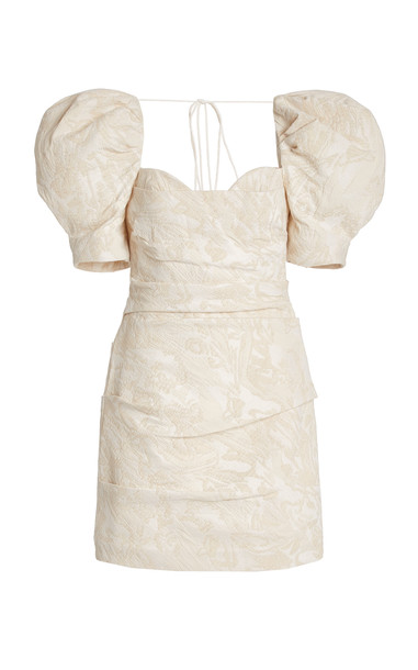 Acler Monroe Puff-Sleeve Cotton-Blend Jacquard Mini Dress in neutral