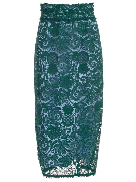 N.21 Floral Lace Skirt in green