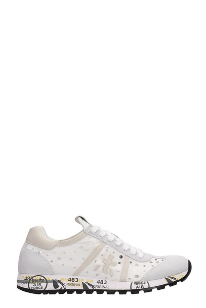 Premiata White Suede And Fabric Lucy Sneakers