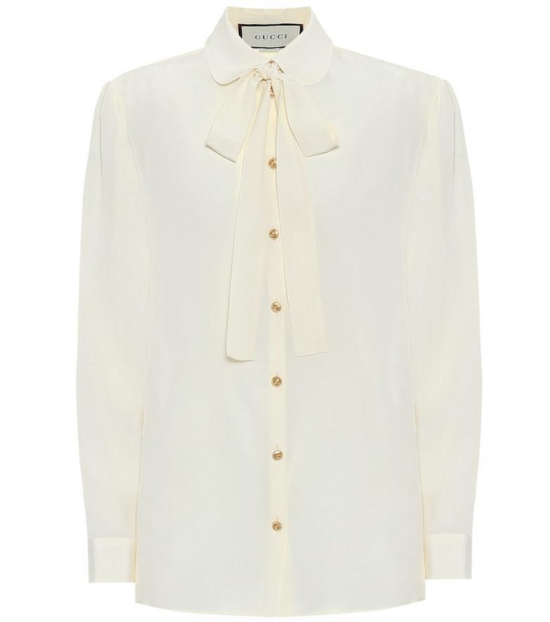 Gucci Silk-crêpe blouse in white