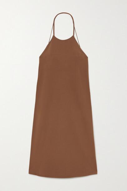Zeynep Arcay - Open-back Stretch-knit Halterneck Midi Dress - Brown