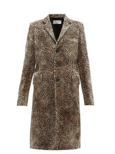 Saint Laurent - Leopard Print Single Breasted Velvet Coat - Womens - Leopard