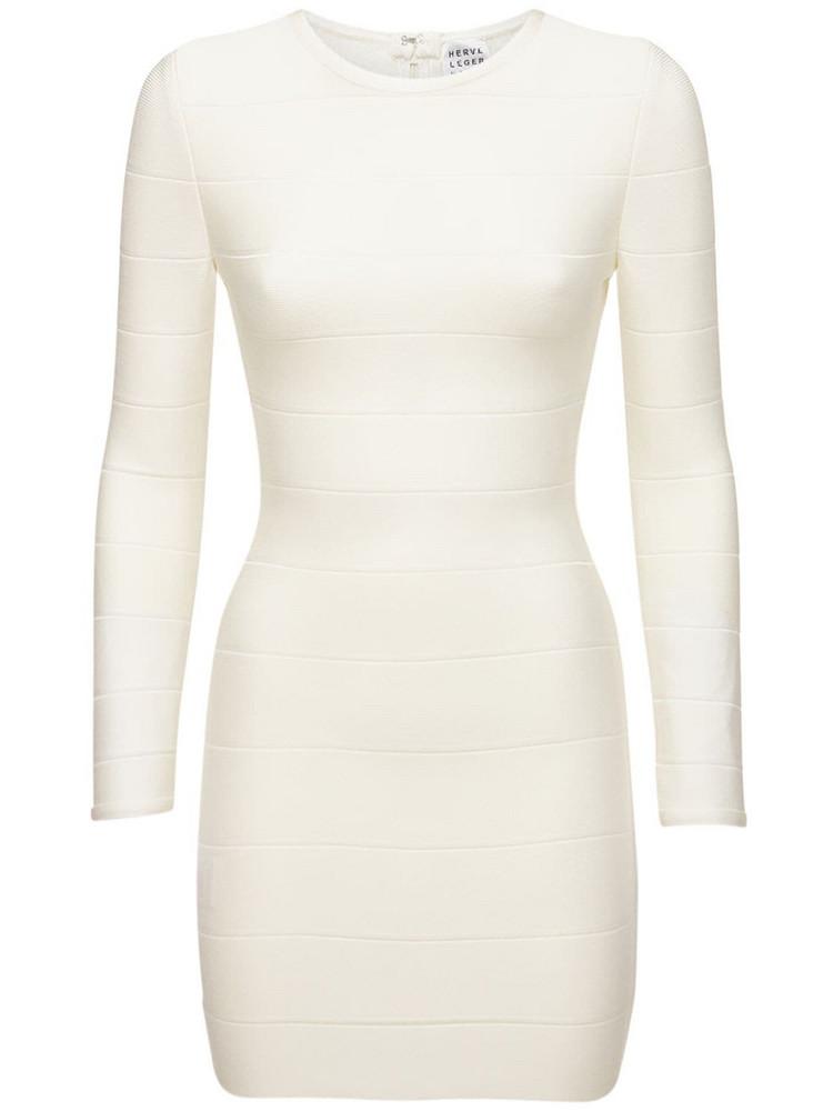 HERVÉ LÉGER Stretch Jersey Knit Mini Dress in white
