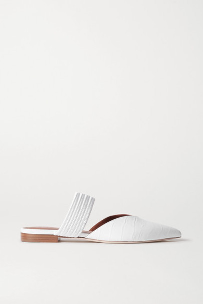 Malone Souliers - Maisie Cord-trimmed Croc-effect Leather Point-toe Flats - White