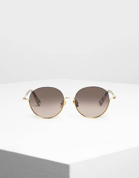 Half Frame Round Sunglasses in gold