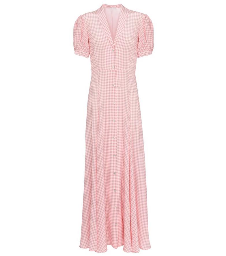 Caroline Constas Bel gingham silk maxi dress in pink