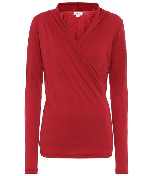 Velvet Meri stretch-cotton jersey top in red