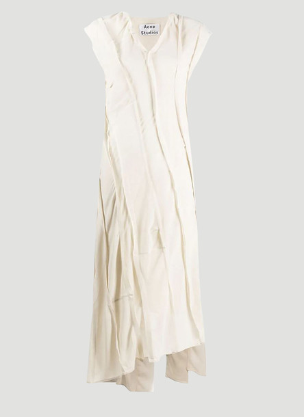 Acne Studios Bias-Cut Patchwork Dress in Beige size EU - 32