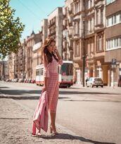 dress,midi dress,pink dress,plaid dress,long sleeve dress,sandals,pink blazer