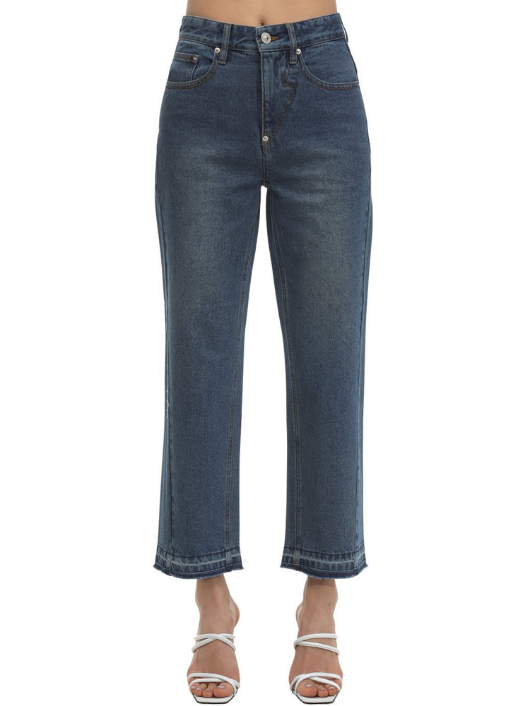 PUSHBUTTON Straight Washed Denim Jeans in blue