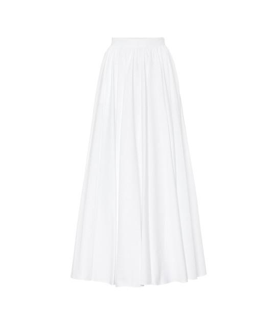 Alaïa Cotton-plissé midi skirt in white