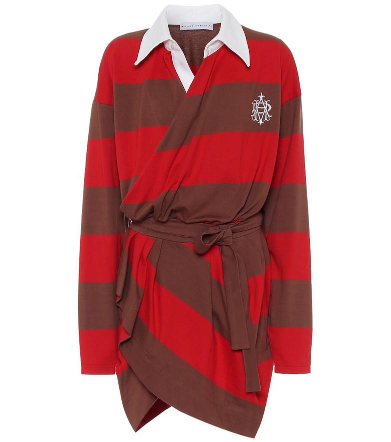 Matthew Adams Dolan Striped cotton minidress in red