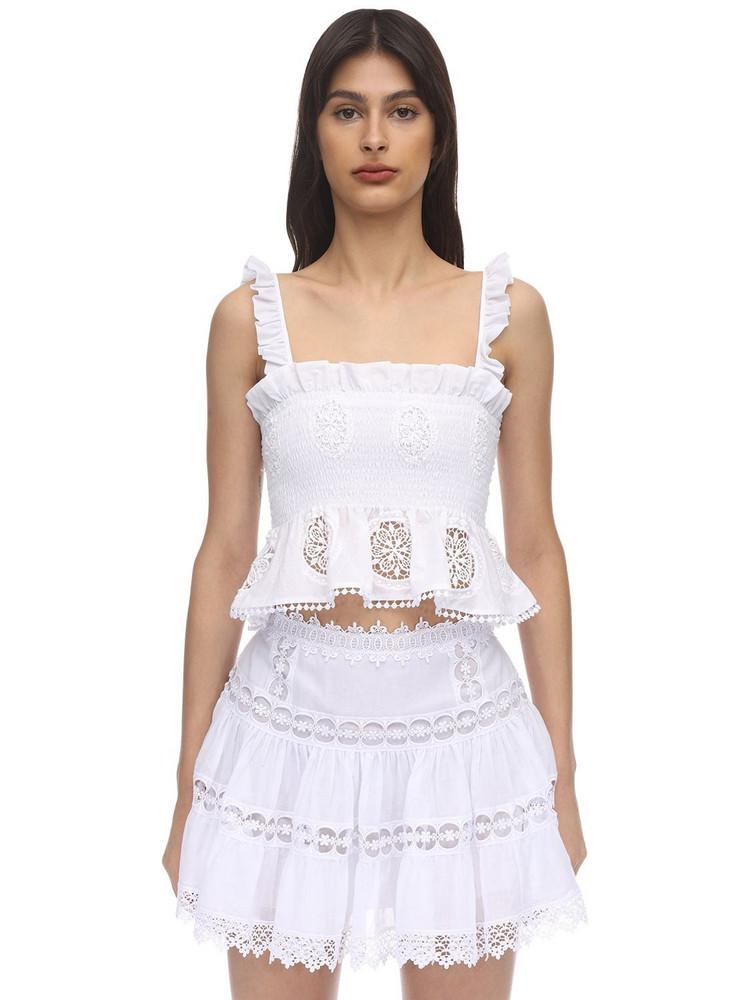 CHARO RUIZ Ursula Ruffled Lace Crop Top in white