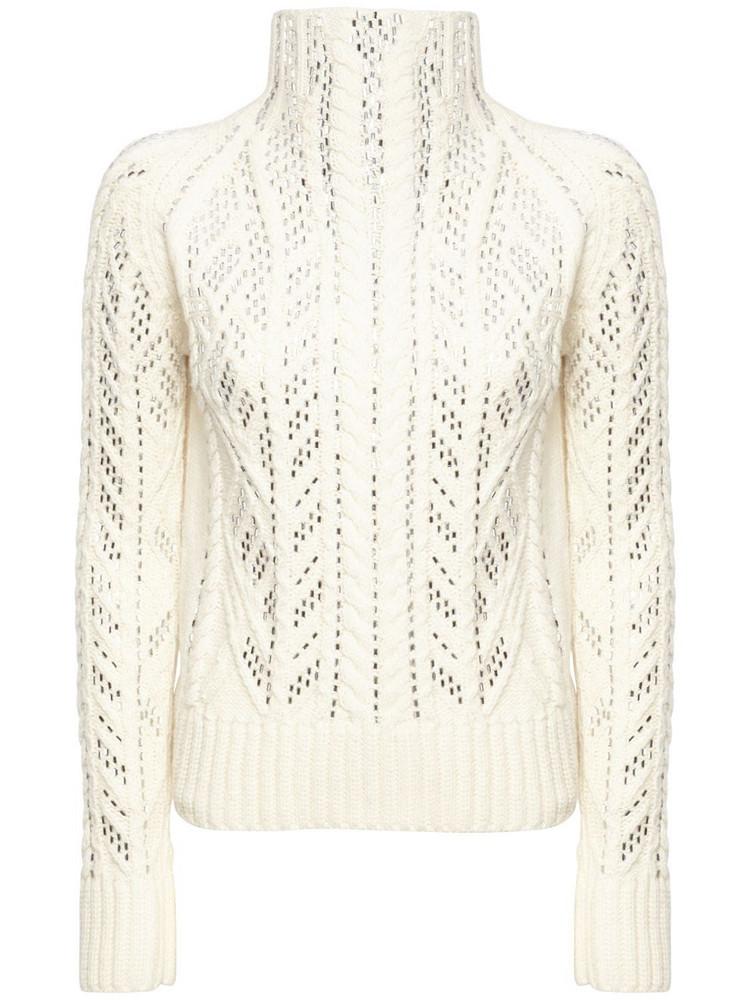 ERMANNO SCERVINO Embellished Wool Blend Sweater in ivory
