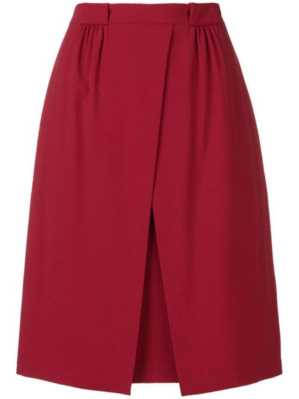 Emporio Armani off centre split skirt in red