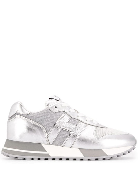 Hogan metallic ribbed panel sneakers in silver
