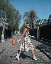 dress,floral dress,midi dress,sleeveless dress,white boots,cowboy boots,brown bag,handbag