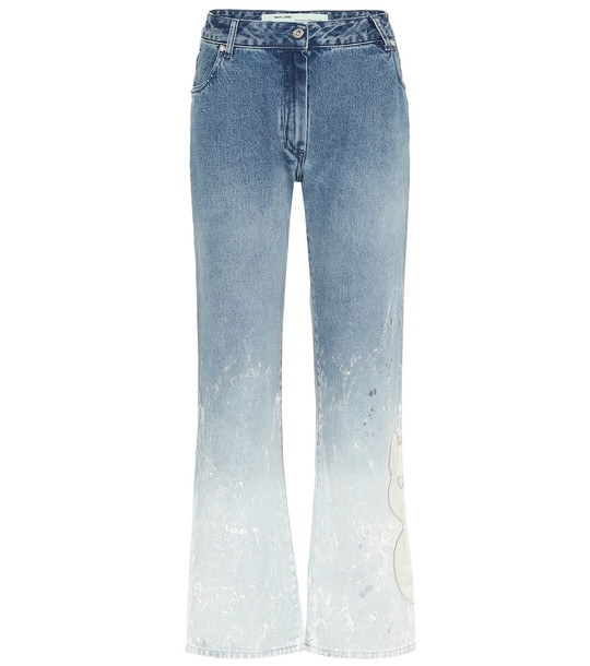 Off-White Mid-rise straight ombré jeans in blue