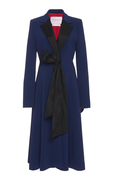 Carolina Herrera Notched Lapel A-Line Cady Coat in blue