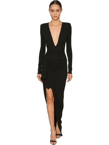 ALEXANDRE VAUTHIER V Neck Stretch Jersey Long Dress in black