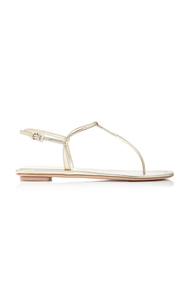 Prada T-Strap Leather Sandals in metallic