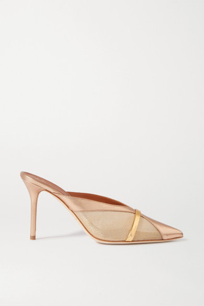 Malone Souliers - Bobbi 85 Metallic Mesh And Leather Mules - Gold