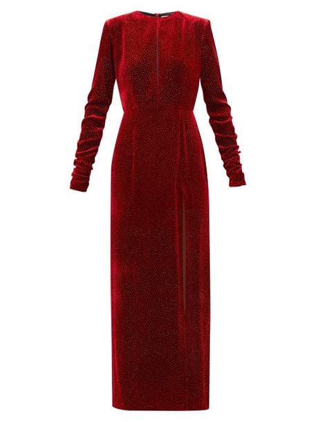 Raquel Diniz - Lucy Glittered Side Slit Velvet Dress - Womens - Dark Red