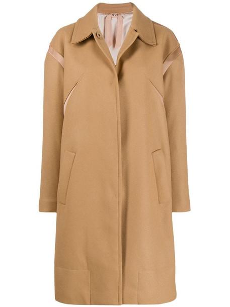 Nº21 mid-length single-breasted coat in brown