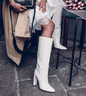 shoes,white boots,white heeled boots,high heels boots,boots,white shoes,all white boots,high heels,heels,heel boots