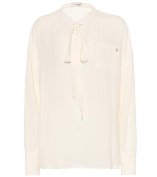 Valentino Silk-georgette shirt in white