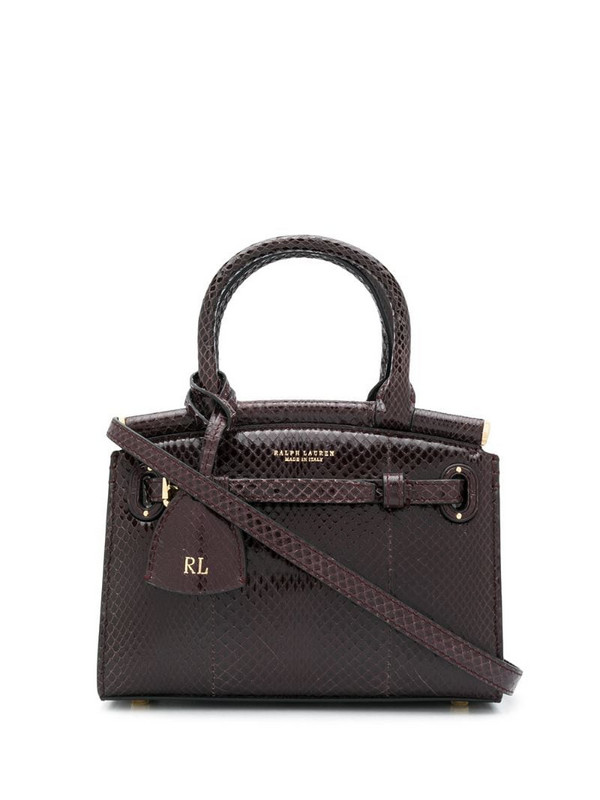 Ralph Lauren Collection embossed logo tote bag in red