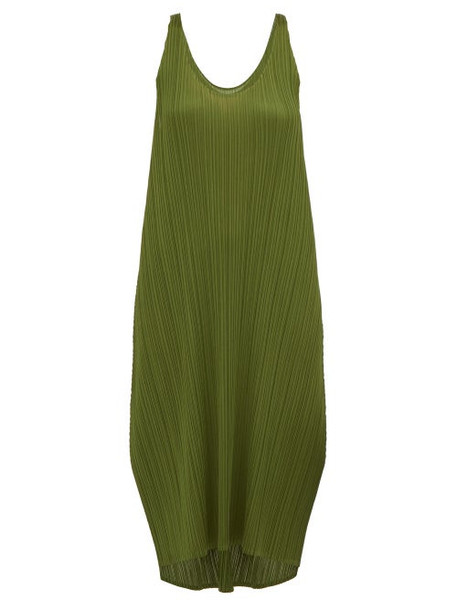 Pleats Please Issey Miyake - Scoop Neck Pleated Dress - Womens - Khaki