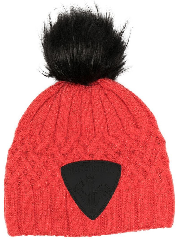 Rossignol cable knit beanie in red