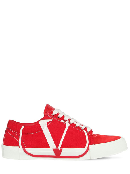 VALENTINO GARAVANI 20mm Tricks Canvas & Suede Sneakers in red / white