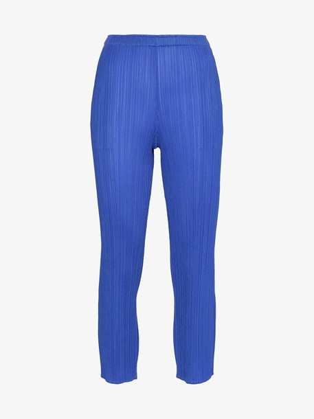 Pleats Please By Issey Miyake pleated slim cropped trousers in blue