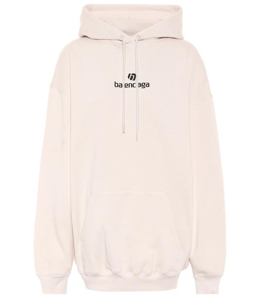 Balenciaga Logo cotton-jersey hoodie in beige