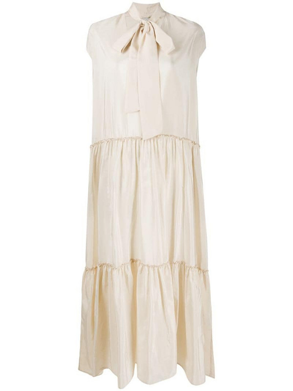 Ballantyne pussy bow tiered dress in neutrals
