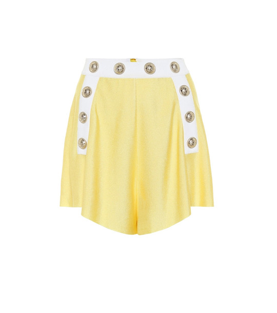 Balmain Exclusive to Mytheresa – high-rise knit shorts in yellow