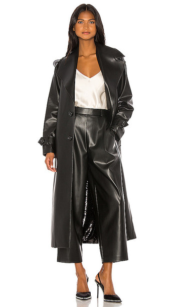 ANOUKI Double Sided Faux Leather Sequin Trench in Black
