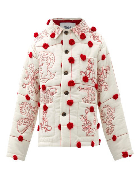 Bode - Edwardian Pompom Embroidered Quilted-cotton Jacket - Womens - Red White