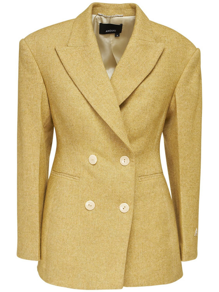 ANOUKI Double Breast Cotton Blend Tweed Blazer in yellow