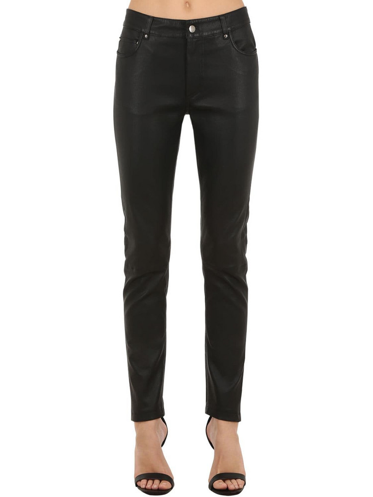 STAND Stella Mid Rise Skinny Leather Pants in black
