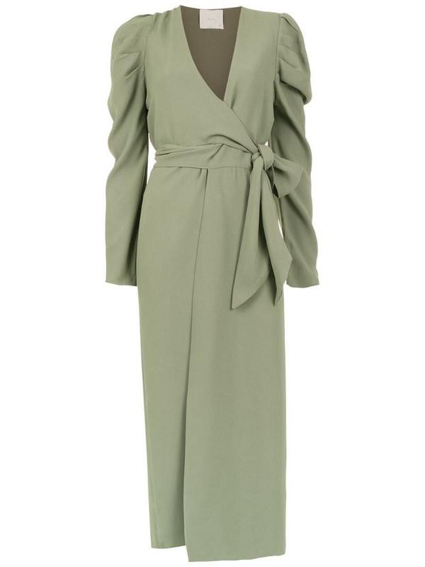 Framed Teshima wrap dress in green