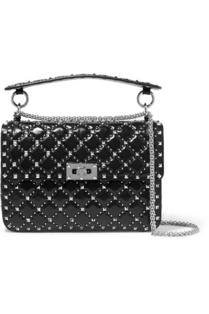 Valentino - Valentino Garavani The Rockstud Spike Medium Quilted Leather Shoulder Bag - Black
