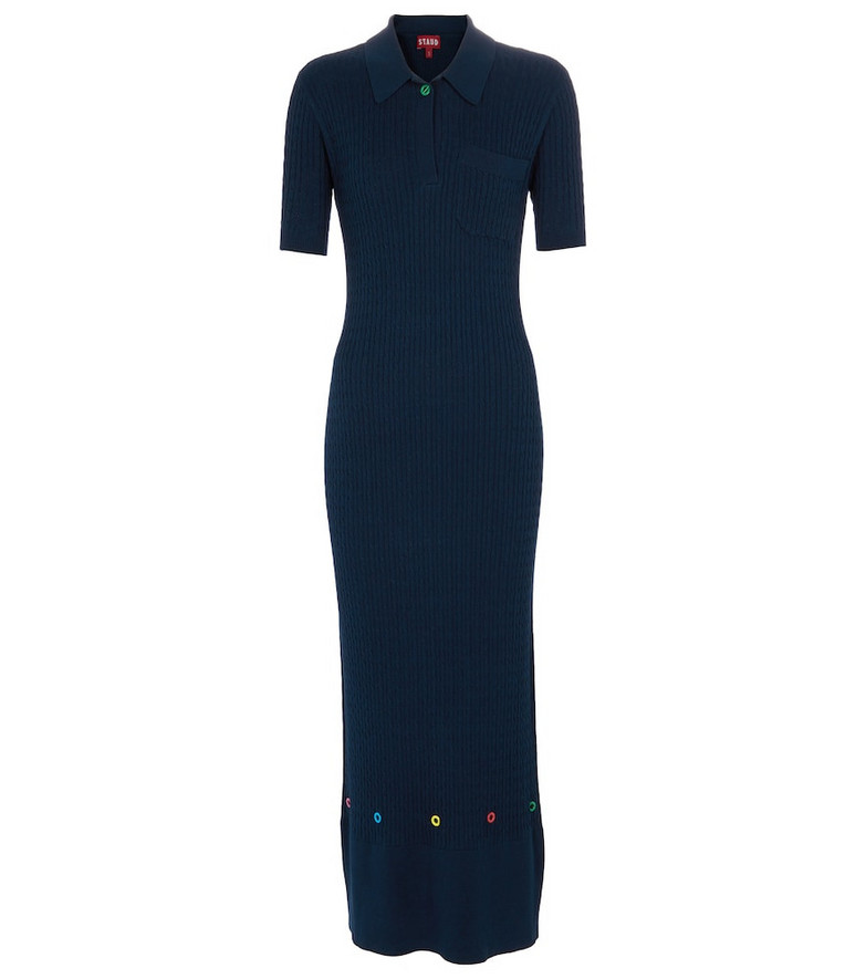 Staud Cecily cotton-blend knit dress in blue