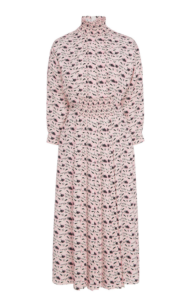 Prada Smocked Printed Crepe Midi Dress Size: 38 in print