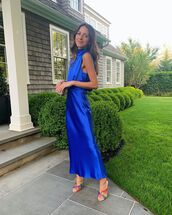 dress,satin dress,blue dress,maxi dress,long dress,shoes,mules